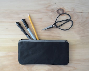Waxed Canvas Zipper Pouch in Black - Zip Pouch, Cosmetic Clutch, Phone Wallet, Zipper Clutch, Bridesmaid Gift