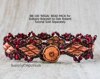 Bead Pack BB-100 REGAL Solitaire Bracelet By Deb Roberti, Tutorial Sold Separately, Made with the New GemDuo