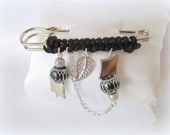 Ausgefallene Geschenk-Idee-schwarz und Silber Brosche