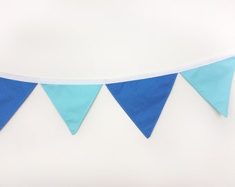 Cotton wall banner Navy Blue Stripes Turquoise Wall decor Nursery baby bunting Fabric garland Wedding garland/Wall art/Wall hanging/Banners