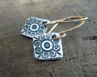 French Quarter Earrings -Diamond - Oxidized fine silver. 14kt Goldfill. Mixed Metal. Handmade