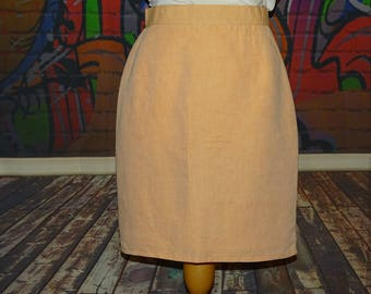 Lovely vintage salmon/peach pencil skirt, work skirt, summer/holiday skirt by For Amitl