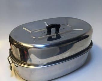 Vintage Extra Large Roasting Pan Priscilla Ware Aluminum USA Self Basting Vented Lid 22lb Turkey
