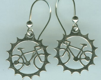 Sterling Silver BICYCLE Earrings - Sports, Cycling