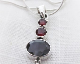 Radiant, Red Garnet Gemstone, Silver Pendant Necklace