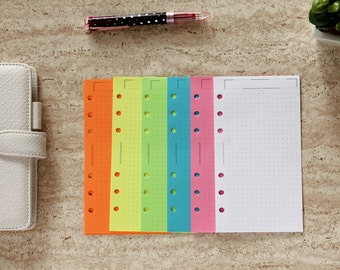 Personal dotted inserts, dot grid printed sheets, neon paper refill, notepaper inserts for Personal planner