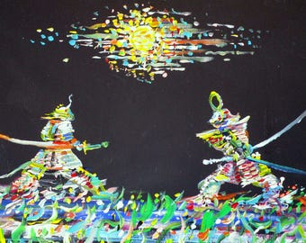 THE TWO SAMURAIS - original acrylic painting - one of a kind!