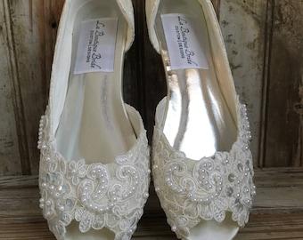 Open Toe Lace Beaded Flat Satin And Lace Bridal Shoe Peep Toe Lace Wedding  Flat Shoe Victorian Style Lace Flat Shoe