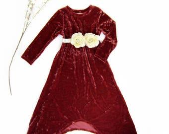 Girls Rust Velvet Dress w/Flower Sash, Girls Velvet Dress, Girls Long Sleeve Dress, Girl Dresses Sizes 3/4, 4/5, 6/6X, 7/8 - Ready to Ship