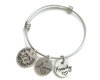 For This Child I Have Prayed - Adoption Personalized Mom Bangle - TTC Bracelet - Gift For Mom - Mother's Day - Hand Stamped Engraved Jewelry
