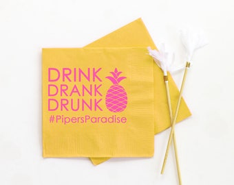 Pineapple Party Napkins Girls Birthday Party Personalized Printed Napkins Luau Party Decorations Pineapple Party Supplies Birthday Napkins