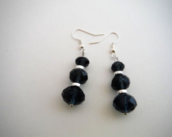 Denim blue crystal earrings look great with jeans, boho jewelry, hippie jewelry, graduated crystals...