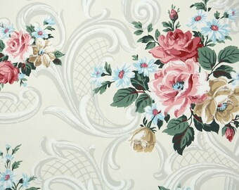 1940s Vintage Wallpaper by the Yard - Floral Vintage Wallpaper Pink and Gold Cabbage Roses