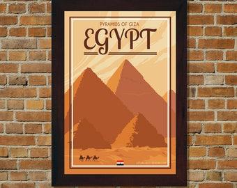 Egypt Pyramids Of Giza - Vintage Travel Poster