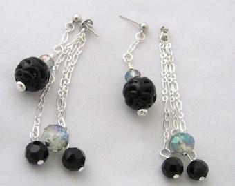Front Back Earrings Ceramic Earrings Black Earrings Gray Earrings Grey Earrings Faceted Glass Bead Earrings