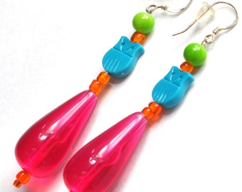 Long Beaded Colorful Hard Candy 80's Inspired Earrings with Vintage Owl & Hot Pink Teadrop Lucite Beads