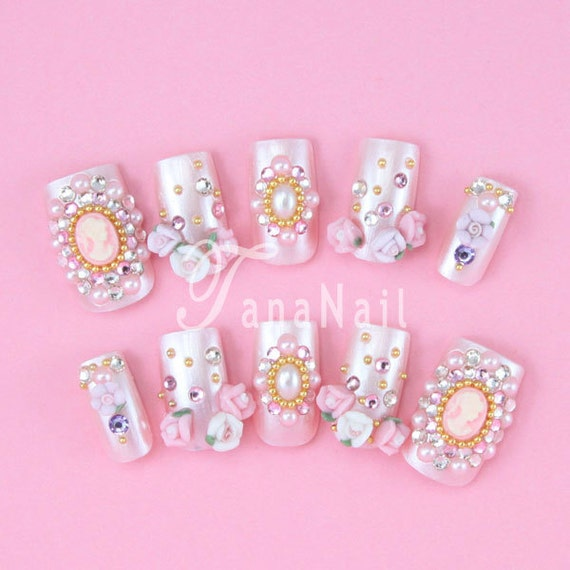 Items similar to Japanese 3D Nail Art, Press On Nails, False Nails ...