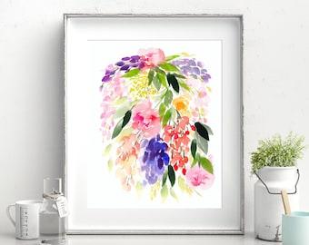 Hand-painted Watercolor Print - Botanique en cascade: A Bright Floral Print with Modern Watercolor Florals