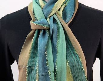 Organic Bamboo Scarf, Green and Lime, Hand woven.