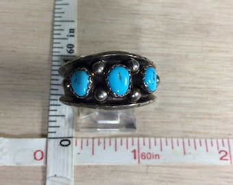 Vintage 925 Sterling Silver 6.3g Turquoise Ring Size 11 Signed H Used