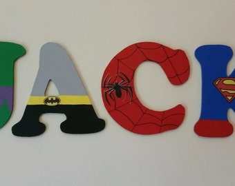 Hand Painted Wooden Super Hero Wall Letters. Price Per Letter