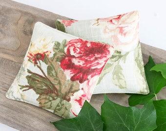 Linen Lavender Sachets, Shabby Cottage Decor, Pink Cabbage Roses, Scented Drawer Sachets