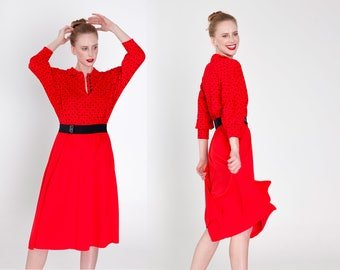 Red Dress with Black Polka Dots & Belt / Knee Length / 3/4 Sleeves Size Small - Medium
