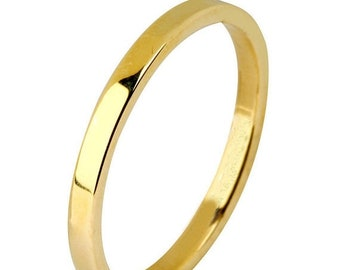 TAX Season Sale 14 kt  Yellow Gold Classic Smooth Cigar Style 2mm Wide Commitment or Wedding Band Custom made Size 4 through 14
