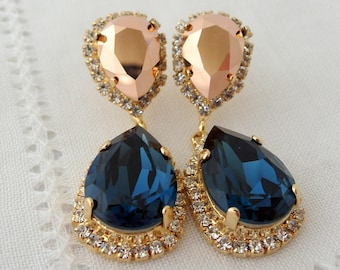 Navy blue and rose gold Chandelier earrings, Drop earrings, Dangle earrings, Bridal earrings, Swarovski earrings, Gold or silver
