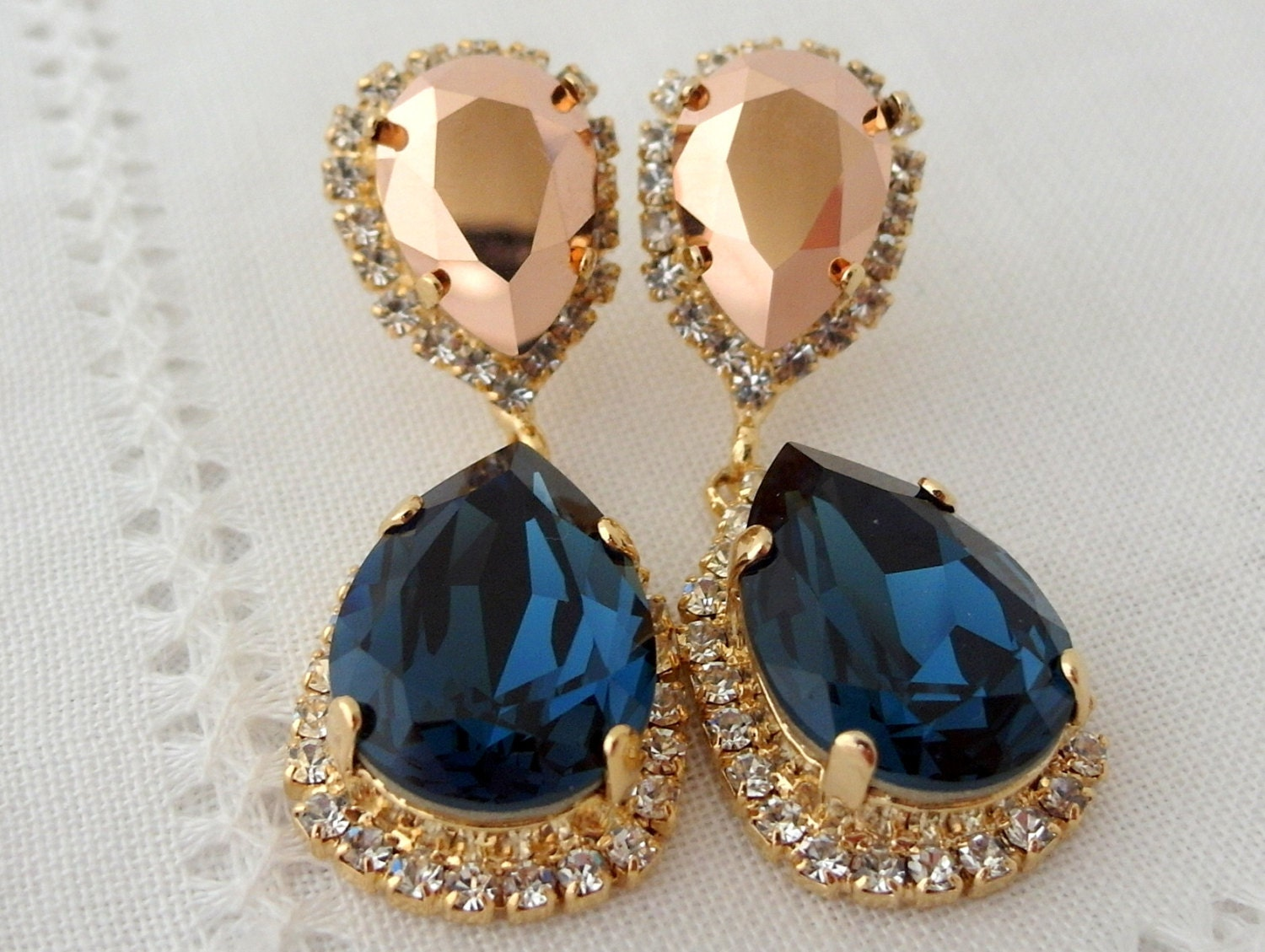 Navy blue and rose gold chandelier earrings drop earrings zoom arubaitofo Choice Image