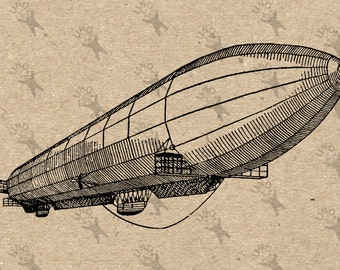 Image Airship Zeppelin Instant Download picture Retro drawing Digital printable vintage clipart antique print Black white graphic HQ 300dpi