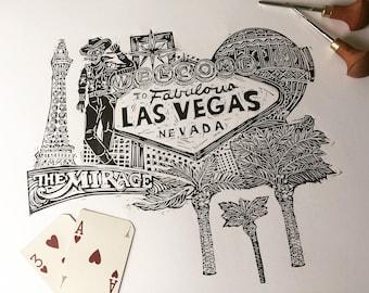 Las Vegas, Art, Lino-print,