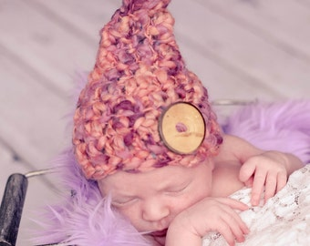 Crochet Pixie Hat, Newborn Photo Prop, Ready to Ship, Baby Elf Hat, Wooden Button, Photo Prop, Baby Gnome Hat, Costume