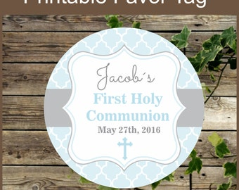 First Holy Communion Blue Favor Tags - Printable Label- Religious Party Printable - Primera Comunion niño - Personalized Favor Tag