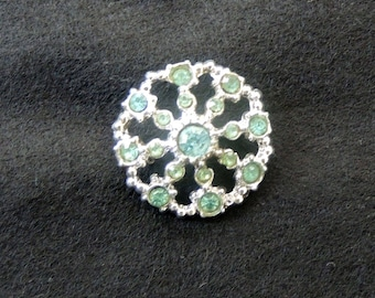 Pale Blue-Green Multi-Stone Vintage Rhinestone Pin