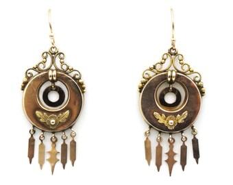 Gold Victorian Fringe Dangle Earrings