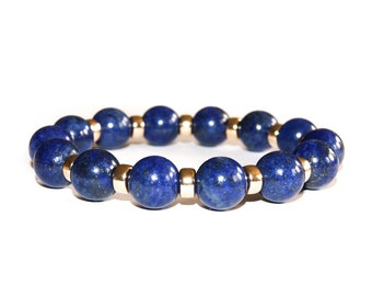 Natural Lapis lazuli and 9ct Gold beaded bracelet for men or women by OMMO London