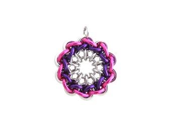 Handmade Pendant, Chain Maille Jewelry, Round Pendant, Multicolor Jewelry, Chain Maille Pendant