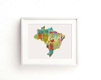 Brazil Love - Colorful Watercolor Style Wall Art Print & Home Country Map Artwork - Travel, Moving, Engagement, Wedding, Honeymoon Gift