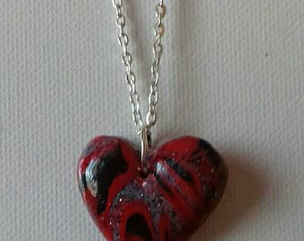 Red and black polymer clay Heart Necklace