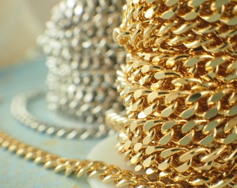 Brass Gold or Rhodium Plated 6.8mm Diamond Cut Curb Chain - You Pick Length - Made in the USA