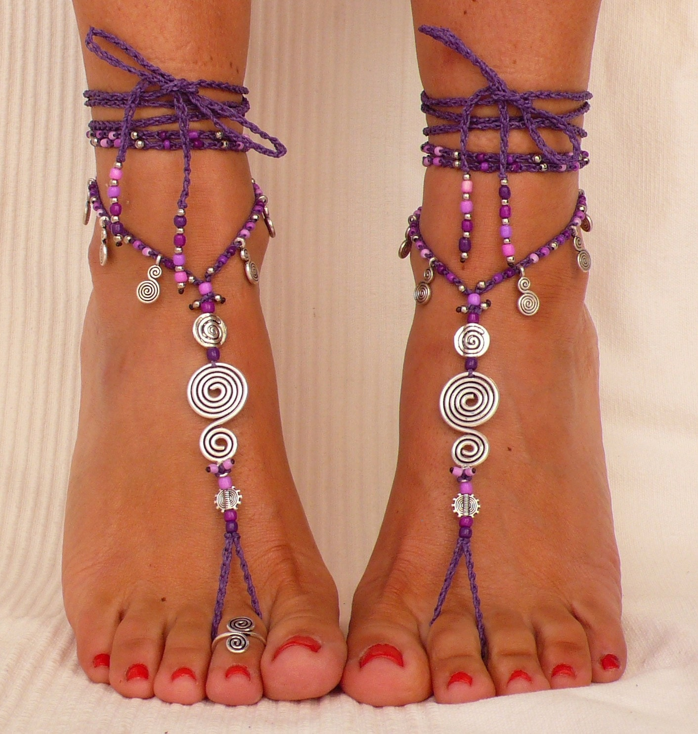 wedding foot fullxfull barefoot hippie flower anklet sandals zoom mandala jewelry il listing lesi