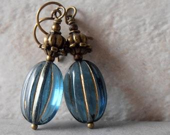 Blue Glass Earrings Denim Blue Beaded Earrings Vintage Style Dangles Antiqued Bronze Earrings Bead Jewelry Glass Oval Bead Earrings Rustic