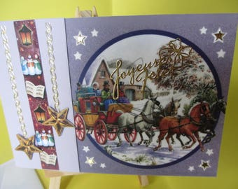 Happy card parties carriage in a snowy landscape and stickers gold