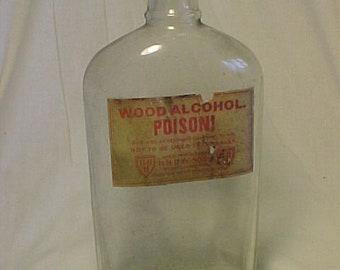 c1920s Wood Alcohol Poison H. H. Hay & Sons Portland, ME., Paper Label Household Paint Bottle, Hardware Store Decor