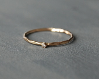 Tiny Gold Stacking Ring, Gold Ring with Cubic Zirconia, Gold Cubic Zirconia Ring, Tiny Gold Ring, Small Gold Stacking Ring