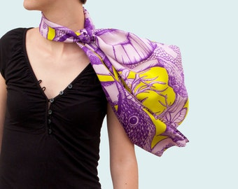 Twill of silk's scarf, mixed drawn animals (deer, rabbit, marmot, mouflon, butterflies), bright purple and anise green