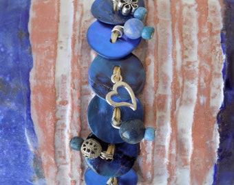 MadeInAmorgos blue and heart bracelet shell buttons