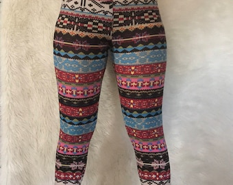 Snowflake Christmas Leggings Holiday Print Buttery Soft ONE SIZE OS