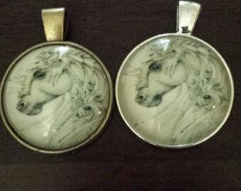 2  lizard on horse glass cabochon pendants  destash  clearance #p6